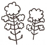白黒のゆるかわいい菜の花イラスト