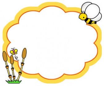春のイラストNo.207『フレーム:つくしと蜜蜂』/無料のフリー素材集【花鳥風月】