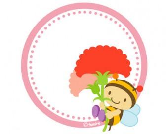 子供と動物のイラスト屋さん>カーネーションとみつばちのPOPカード(ピンク)