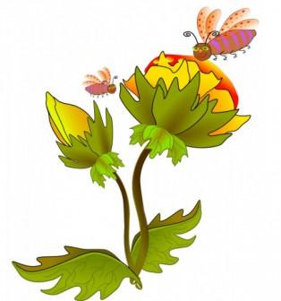ミツバチが花にベクトル イラスト | パブリックドメインのベクトル