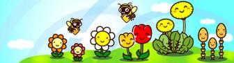 春:かわいい花と蜂さんの楽しいイラスト (タイトルバナー)|フリー素材|素材のプチッチ