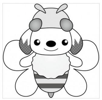 印刷用イラスト みつばち(モノクロ)