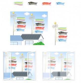 5月 こいのぼり・鯉のぼり イラスト・アイコン・背景壁紙(子供の日・端午の節句の素材 3)