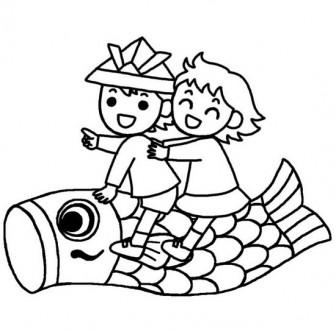 園児とこいのぼり(白黒)/こどもの日の無料イラスト素材/春の季節・行事/保育素材