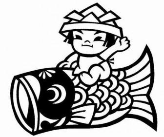 【無料】切り絵素材:「鯉に乗った男の子」で実践学習