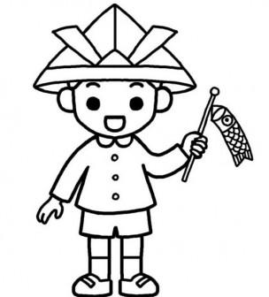 男の子(白黒)/こどもの日の無料イラスト素材/春の季節・行事/保育素材