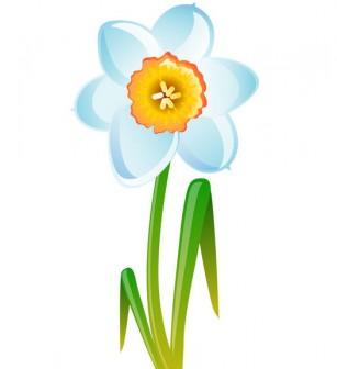 [フリーイラスト素材] クリップアート, 水仙 / スイセン, 花, 植物, 白色の花, EPS ID:201404141300 - GATAG フリーイラスト素材集