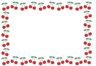 [果物・フルーツ]さくらんぼ(チェリー)のフレーム飾り枠イラスト