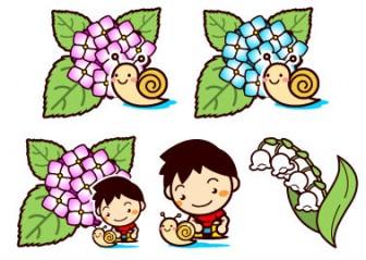 6月:梅雨の無料イラスト(アジサイ、カタツムリ、紫陽花等)|フリー素材|素材のプチッチ