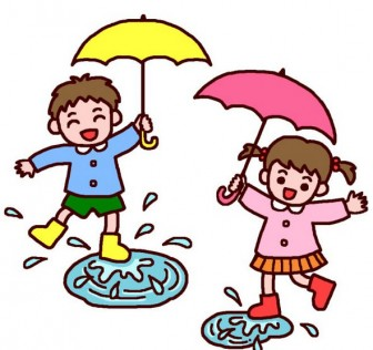 水たまり、ばっしゃん(カラー)/つゆ・梅雨の無料イラスト/夏の季節・行事/保育素材