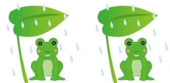 梅雨のかえるのイラスト