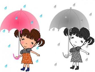 梅雨 (雨の日 )夏のイラスト素材 無料テンプレート