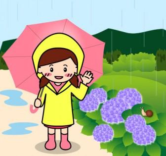 梅雨(雨の風景)のイラスト:無料画像の素材屋花子