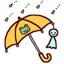 傘とてるてるぼうず(カラー)/梅雨の無料イラスト/夏/ミニカット・クリップアート素材