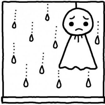 てるてるぼうず1/梅雨/夏の季節/6月の行事/無料【白黒イラスト素材】