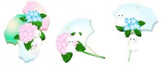 花通信イラスト素材 紫陽花とてるてる坊主