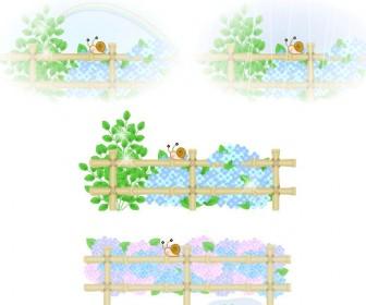 梅雨素材【雨・あじさい・かたつむり】イラスト・アイコン フリー素材