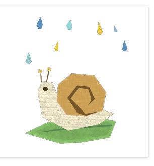 かたつむりと雨のコラージュ風イラスト <無料>   イラストK