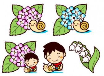 6月:梅雨の無料イラスト(アジサイ、カタツムリ、紫陽花等) フリー素材 素材のプチッチ