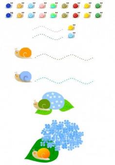 梅雨のイラスト・傘・かたつむり・紫陽花・カエル/無料イラスト素材/フリー素材