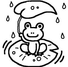 カエル・蛙(白黒)/梅雨の無料イラスト/夏/ミニカット・クリップアート素材