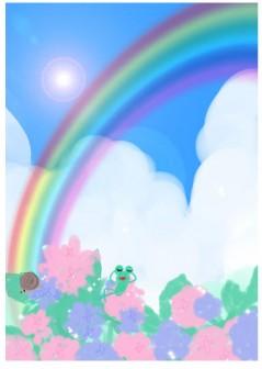 虹の下でくつろぐカエルのイラスト素材(HP素材のおすそわけ。)