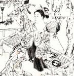 七夕、笹、夕涼み、美人画(1) / 奥村政信