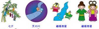 イラストポップ | 季節のイラスト夏-7月の無料素材-織姫彦星七夕