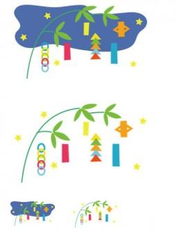 幼稚園児のイラスト・絵カード:七夕 -