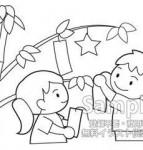 七夕:2-短冊をかける子供たち-モノクロ-