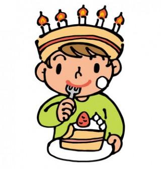 誕生日ケーキを食べる男の子の無料イラスト | かわいいイラストならイラストレイン