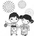 夏のイラスト素材 (6・7・8月)     花火 屋台     イラストテンプレート美里音