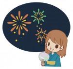 OLが花火を見ている花火大会イラスト素材