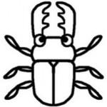 クワガタ・くわがた(白黒)/虫・昆虫の無料イラスト/ミニカット・クリップアート素材