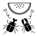 カブトムシとクワガタ/夏の情景/夏のイラスト/無料【白黒イラスト素材】
