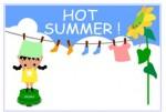 暑中見舞いハガキ素材 / お洗濯 無料イラスト素材