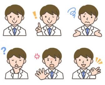 薬剤師(男性)の表情イラスト6種
