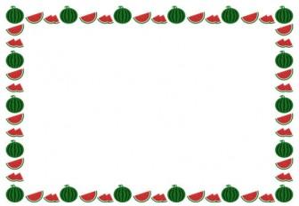 [果物・フルーツ]西瓜(すいか・スイカ)のフレーム飾り枠イラスト