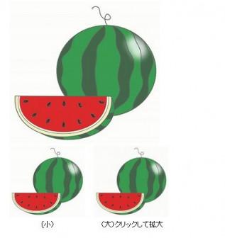 幼稚園児のイラスト・絵カード:すいかのイラスト・絵カード素材|夏の果物のイラスト