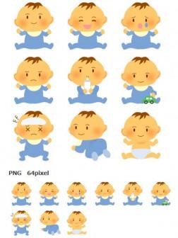 かわいい赤ちゃんイラストアイコン集-ブルー系 画像フリー素材|無料素材倶楽部