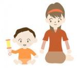 赤ん坊が遊ぶ/赤ちゃん喜ぶ 人物 イラスト 無料 素材