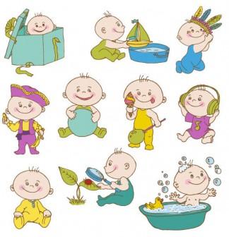 とてもかわいい赤ちゃんがいっぱいの無料イラスト♪