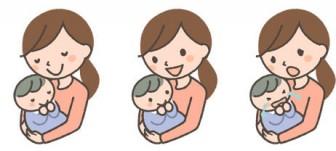 赤ちゃんを抱っこするママの表情イラスト3種 | 可愛い無料イラスト・人物素材 - フリーラ -