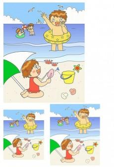 幼稚園児のイラスト・絵カード:【8月】海水浴のイラスト - livedoor Blog(ブログ)