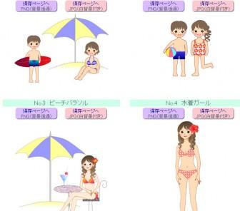印刷イラスト 【夏/マリン海もの】 海水浴