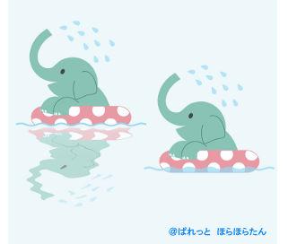 » プール・海水浴イラスト / 浮き輪で水遊びの象さん   可愛い無料イラスト素材集