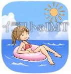 海水浴を楽しんでいる女性のイラスト【無料イラストのIMT】商用OK、あつ作