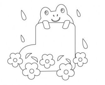 ぬりえ素材・カエルと長靴・梅雨   イラスト無料・かわいいテンプレート