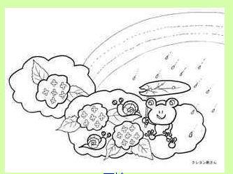 アジサイ、カエル、カタツムリ、虹の塗り絵の下絵、イラスト