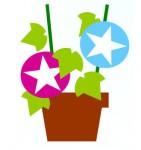 無料イラスト(あさがお:植木鉢、海:ヨット、無人島、砂浜:パラソル、浮き輪、野球グラウンド、野球ボール,ナンバーボール,朝顔(植木鉢)):無料テンプレート